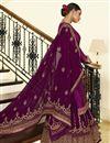 photo of Purple Color Embroidered Designer Sangeet Wear Sharara Top Lehenga In Georgette Satin Fabric