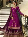 image of Purple Color Embroidered Designer Sangeet Wear Sharara Top Lehenga In Georgette Satin Fabric