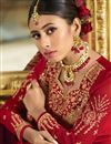 picture of Designer Georgette Satin Fabric Embroidered Sangeet Wear Sharara Top Lehenga In Red Color