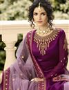 picture of Designer Purple Function Wear Embroidered Sharara Top Lehenga In Satin Georgette Fabric