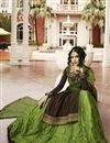 photo of Satin Georgette Fabric Function Wear Designer Brown Embroidered Sharara Top Lehenga