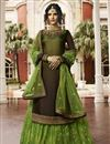 image of Satin Georgette Fabric Function Wear Designer Brown Embroidered Sharara Top Lehenga