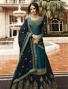 image of Designer Teal Function Wear Embroidered Sharara Top Lehenga In Satin Georgette Fabric