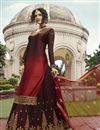 photo of Satin Georgette Fabric Function Wear Maroon Embroidered Designer Sharara Top Lehenga
