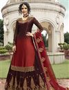 image of Satin Georgette Fabric Function Wear Maroon Embroidered Designer Sharara Top Lehenga