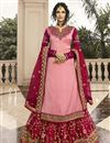 image of Designer Satin Georgette Fabric Function Wear Embroidered Sharara Top Lehenga In Pink