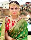 photo of Banarasi Style Traditional Green Art Silk Saree With Weaving Work