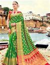 image of Banarasi Style Traditional Green Art Silk Saree With Weaving Work