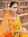photo of Banarasi Style Weaving Work On Festive Wear Mustard Saree In Art Silk
