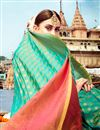 photo of Cyan Weaving Work On Banarasi Style Function Wear Art Silk Saree