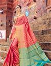 image of Banarasi Style Art Silk Designer Saree With Weaving Designs In Pink