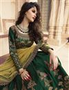 photograph of Art Silk Fabric Wedding Function Wear Dark Green Lehenga With Work