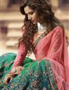 picture of Wedding Function Wear Art Silk Fabric Teal Embroidered Lehenga