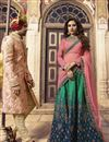 photograph of Wedding Function Wear Art Silk Fabric Teal Embroidered Lehenga