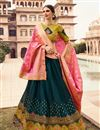 image of Reception Wear Lehenga In Teal Art Silk Fabric With Embroidery Work