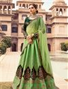 image of Embroidered Sea Green Art Silk Fabric Festive Wear Lehenga With Embroidery Work