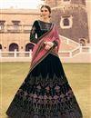 image of Velvet Fabric Navy Blue Designer 3 Piece Lehenga Choli With Embroidery Designs