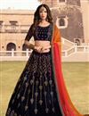 image of Eid Special Navy Blue Embroidered Velvet Fabric Party Wear Lehenga With Enchanting Blouse