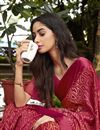 photo of Brasso Fabric Casual Party Style Red Fancy Printed Saree