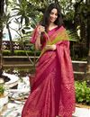 image of Brasso Fabric Casual Party Style Red Fancy Printed Saree