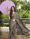 image of Grey Casual Party Style Fancy Printed Brasso Fabric Saree