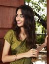 photo of Casual Party Style Mehendi Green Fancy Printed Saree In Brasso Fabric