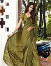 image of Casual Party Style Mehendi Green Fancy Printed Saree In Brasso Fabric