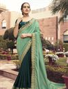 image of Dark Green Color Puja Wear Viscose Fabric Border Work Saree
