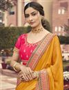 photo of Art Silk Fabric Function Wear Mustard Color Border Work Saree