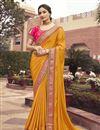 image of Art Silk Fabric Function Wear Mustard Color Border Work Saree