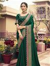 image of Festive Wear Art Silk Fabric Border Work Saree In Green Color