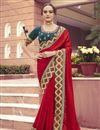 image of Red Color Festive Wear Art Silk Fabric Border Work Saree