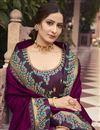photo of Art Silk Fabric Party Wear Purple Color Border Work Saree
