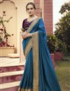 image of Sky Blue Color Puja Wear Art Silk Fabric Border Work Saree