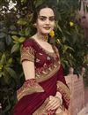 photo of Art Silk Fabric Sangeet Wear Peach Color Border Work Saree