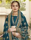 photo of Art Silk Fabric Function Wear Trendy Saree In Teal Color