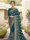 image of Art Silk Fabric Function Wear Trendy Saree In Teal Color