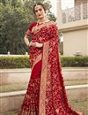 image of Party Wear Stylish Saree In Red Color Art Silk Fabric