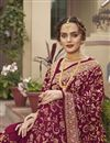 photo of Wine Color Art Silk Fabric Party Wear Designer Saree With Embroidery Work
