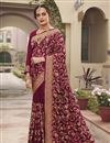 image of Wine Color Art Silk Fabric Party Wear Designer Saree With Embroidery Work