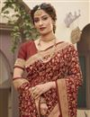 photo of Art Silk Fabric Party Wear Rust Color Trendy Saree