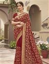 image of Art Silk Fabric Party Wear Rust Color Trendy Saree