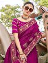 photo of Magenta Color Art Silk Fabric Festive Wear Embroidery Work Saree