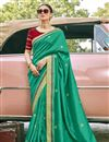image of Light Turquoise Color Traditional Embroidery Work Saree In Art Silk Fabric