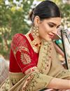 photo of Cream Color Satin Silk Fabric Function Wear Embroidery Work Saree