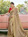 image of Cream Color Satin Silk Fabric Function Wear Embroidery Work Saree