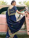 photo of Satin Silk Fabric Navy Blue Color Designer Embroidery Work Saree