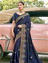 image of Satin Silk Fabric Navy Blue Color Designer Embroidery Work Saree