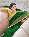photo of Art Silk Fabric Designer Embroidery Work Saree In Dark Green Color