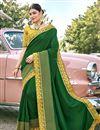 image of Art Silk Fabric Designer Embroidery Work Saree In Dark Green Color